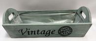 "Light teal blue vintage wood tray 13""x6""x4""H (min.3, 40/crtn)"
