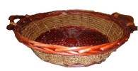 """CBL814R Round willow & seagrass basket with wooden handles 16""""Dx4""""H (19"""" including handles)"""