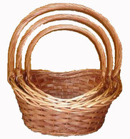 """Set of 3 Willow & chipwood baskets with handles  L:18""""x12""""x7""""Hx19""""OH M:15""""x10""""x6""""Hx17""""OH S:13""""x9""""x5""""Hx15""""OH"""