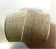 "Natural wired burlap ribbon 25 yard/roll - 2.5"" wide"