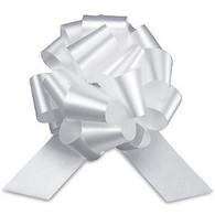 "4"" Matte Pull Bows - 50 bows/case - White"