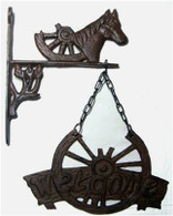 "Cast Iron Horse head w/hanging welcome wheel 8.5""x12"""
