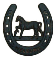 CAST IRON HORSESHOE WITH WELCOME 6.5X7.5H (MIN.4)
