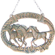 "Cast Iron Horses W/Welcome & chain 15""x13"" (min.2)"
