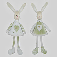 Striped green & white hanging rabbit 2 styles