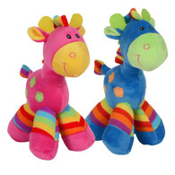 "Small colorful giraffe plush Assorted 2 colors 7""x5""x8""H min 4, (2 of ea. color)"