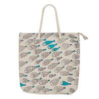 "Tote beach Bag- turquoise Fish Motif tote bag with zipper 18""x5""x17""H"