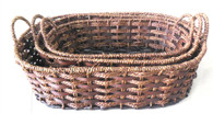 S/3 Oval seagrass and chip wood baskets with handles
