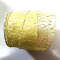 "Organza gold glitter wired ribbon 25 yard/roll - 2.5"" wide"