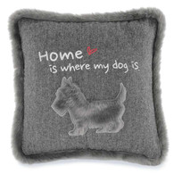 "Grey fur trim Home is where my dog is 18""x18"""