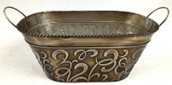 "Oval Metal swirls container w/handles 15""x7.75""x5.75""H (min.3,20/crtn)"