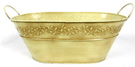 """Oval Metal cream/ivory container w/handles 15""""x7.75""""x5.75""""H (min.3,20/crtn)"""