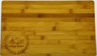 "Bamboo cutting board with ""Artisan Cheese"" engraved 15""x0.4""x9"""