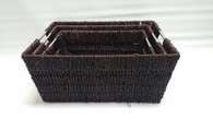 "Largest in a Set of 3 brown seagrass baskets with metal handles 16""x12""x7""H"
