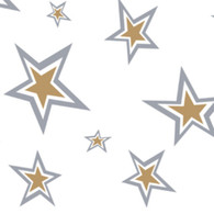 "SUPER STARS gold and silver Printed Cellophane roll 40""x100'"