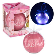 "Led pink ball ornament. - My First Christmas 3""D"