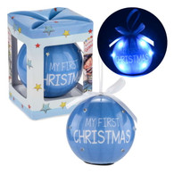 "Led blue ball ornament. - My First Christmas 3""D"