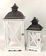 "Set of 2 Vintage white wood, glass and iron lanterns   Small: 8""x8""x16.5""H, Large:11""x11""x24""H"