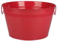 """Galvanized round red bucket with handles 16""""Dx9""""H"""