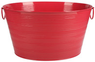 """Galvanized oval RED party tub with handles 20""""x15""""x11"""""""