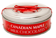 Made Canadian Maple milk chocolates in a tin container 80 gr., 12/cs