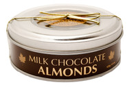 Made milk chocolate almonds in a tin container 127 gr., 12/cs