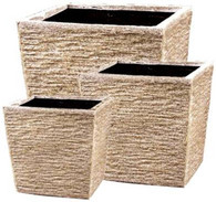 "Set of 3 Fiberstone planters in beige stone finish  L:19""x19""x15.5""H  M:15.5""x15.5""x13""H  S:12""x12""x10""H"