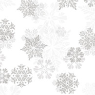 "White and Silver Snowflake Printed Cellophane roll 40""x100'"