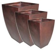"VP213S3 – S/3 Square brown Zinc planters (min.1,1/crtn) L:18""x18""x28""H M:16""x16""x24""H S:14""x14""x20""H"