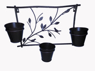 "Metal hanging wall planter with 3 pots 20""x5.5""x12""H"