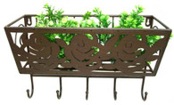 """CM302S – Metal wall plant holder with hooks  15""""x6""""x11""""H  (min 2, 4/crtn)"""