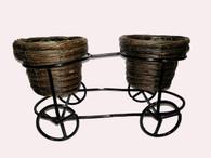 "willow planter w/metal stand 16.5""x8""x7""H (min 4, 8/crtn)"