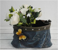 """CRL367P – Polyresin skirt planter with strap 10.5""""x6.5""""x6.5""""H(min.1,6/crtn) (5% off on case size)"""