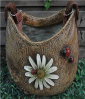 """CRL354P – Polyresin purse shaped planter with hanging strap 11""""x7""""x11""""H(min.1,4/crtn) (5% off on case size)"""