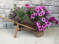 "Half barrel wooden cart with liner22""x10""x10.5""H"