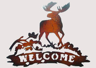 "Metal welcome moose wall Décor 21.5""x16.5""H"