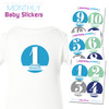 Mod Blues Baby Month Stickers New