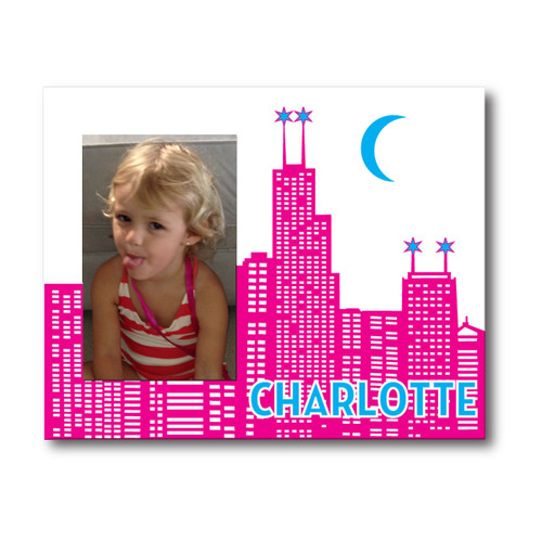 Personalized Chicago Skyline Picture Frame Fuchsia