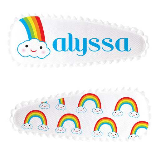 Personalized Name Game Barrette Set: Rainbow