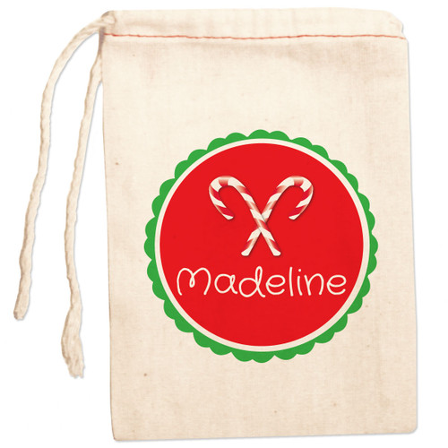 Personalized Gift Bag: Crossed Candy Cane