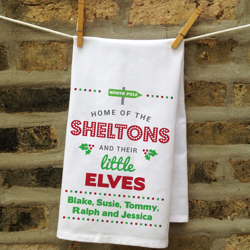 Personalized North Pole Christmas Kitchen Towel