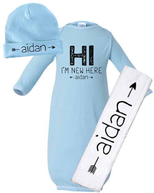 """Personalized I'm """"New"""" Here Baby Gown Set Blue"""