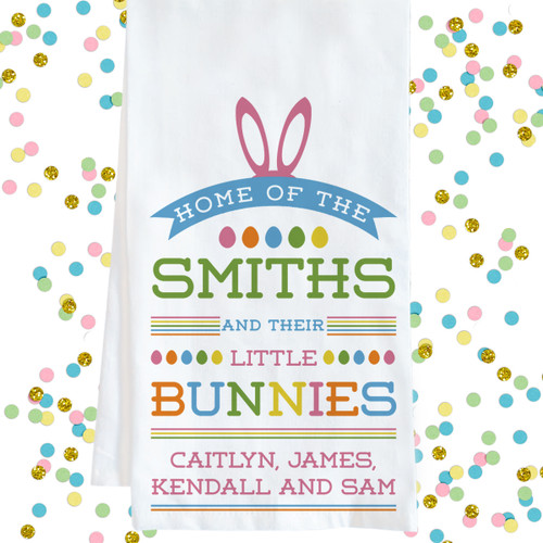Personalized Easter Tea Towel - Little Bunnies