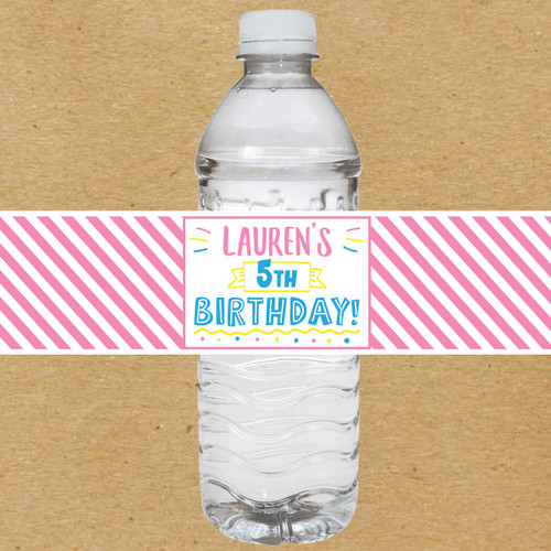 Girls Birthday Party Water Bottle Labels