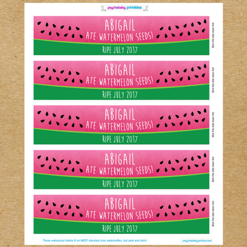 watermelon seeds baby shower water bottle labels new