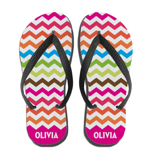 Electric Chevron Flip Flops