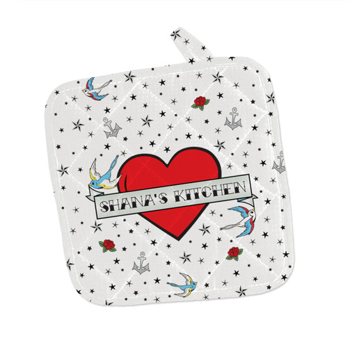 Personalized Flying Sparrow Tattoo Heart Pot Holder