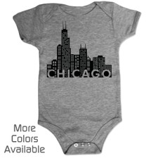 Personalized Chicago Skyline Baby Shirt