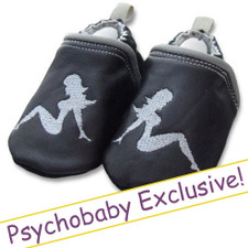 Trucker Girl Mud Flap Black Leather Slip On Baby Shoes