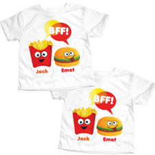 Personalized BFF Burger and Fries T-Shirt Set